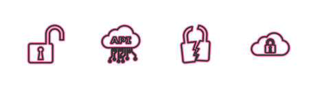 Set line Open padlock, Broken or cracked, Cloud api interface and computing icon. Vector