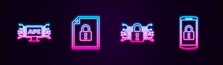 Set line Computer api interface, Document and lock, Cyber security and Smartphone with. Glowing neon icon. Vector
