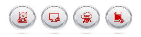 Set line Hard disk drive and lock, Lock on monitor, Cloud api interface and Document. Silver circle button. Vector