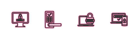 Set line Monitor with password, Laptop, Digital door lock wireless and Two steps authentication icon. Vector