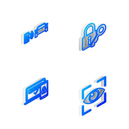Set Isometric line Lock and key, Smart car alarm system, Two steps authentication and Eye scan icon. Vector