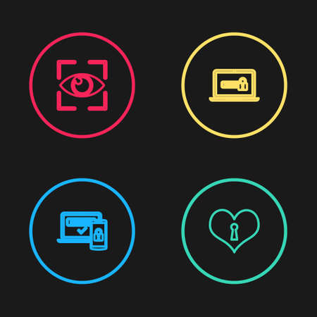 Set line Two steps authentication, Heart with keyhole, Laptop password and Eye scan icon. Vector 矢量图像