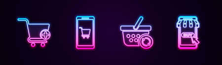 Set line Add to Shopping cart, Mobile and shopping, Refresh basket and . Glowing neon icon. Vector Vettoriali