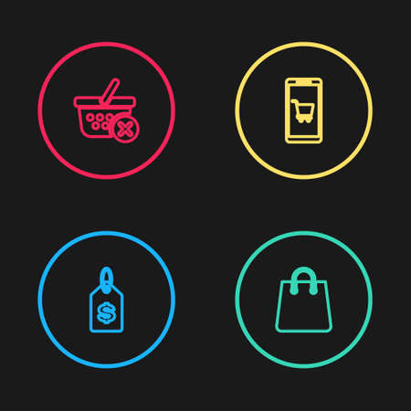 Set line Price tag with dollar, Handbag, Mobile shopping cart and Remove basket icon. Vector Vettoriali