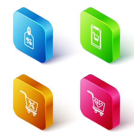 Set Isometric line Discount percent tag, Mobile and shopping cart, Remove and Add to Shopping icon. Vector