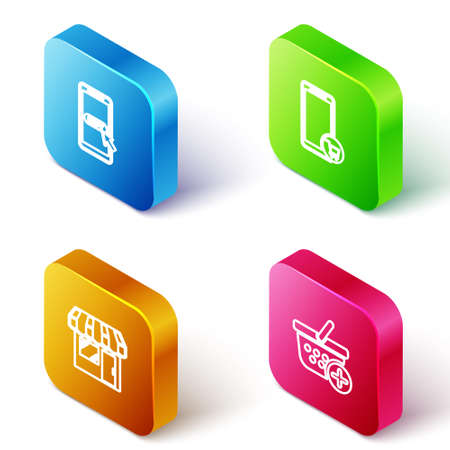 Set Isometric line Mobile and shopping cart, , Market store and Add Shopping basket icon. Vector