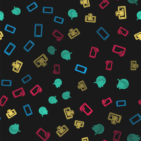 Set line Smartphone, mobile phone, Shopping cart with globe, Mobile and shopping basket and on seamless pattern. Vector