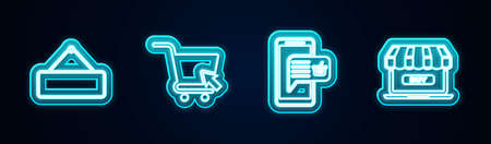 Set line Signboard hanging, Shopping cart with cursor, Mobile and shopping basket and Online. Glowing neon icon. Vector