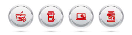Set line Add to Shopping basket, Mobile and shopping cart, on laptop and Market store. Silver circle button. Vector