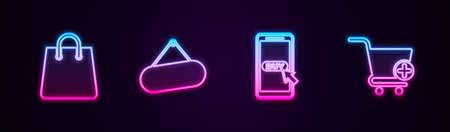 Set line Handbag, Signboard hanging, Mobile shopping cart and Add to Shopping. Glowing neon icon. Vector Vettoriali