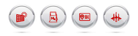 Set line Solar energy panel and sun, Hydrogen filling station, Address book and Wind turbines. Silver circle button. Vector