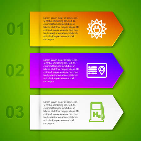 Set line Solar energy panel, Address book, Hydrogen filling station and Customer care server. Business infographic template. Vector Vettoriali