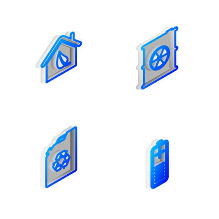 Set Isometric line Radioactive waste in barrel, Eco friendly house, fuel canister and Battery charge level indicator icon. Vector Illusztráció