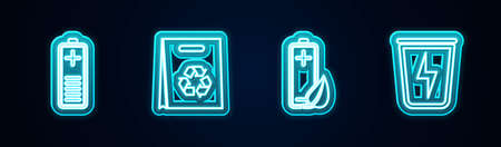 Set line Battery charge level indicator, Shopping bag with recycle, Eco nature leaf and battery and Lightning trash can. Glowing neon icon. Vector Illusztráció