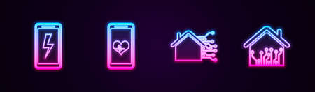 Set line Mobile charging battery, with heart rate, Smart home and . Glowing neon icon. Vector Vettoriali
