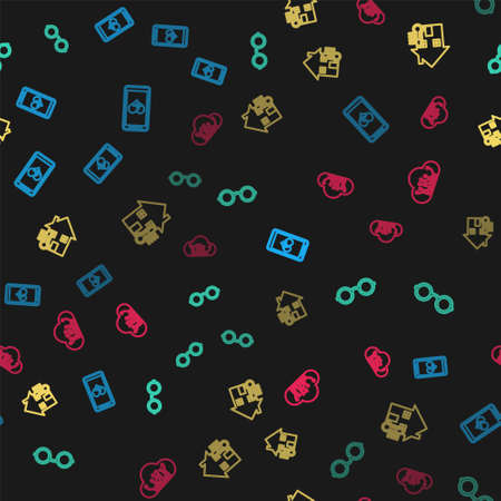 Set line Mobile with heart rate, Glasses, House temperature and Internet of things on seamless pattern. Vector Vettoriali
