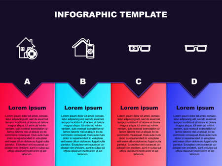 Set line Smart home, remote control system, glasses and Glasses. Business infographic template. Vector