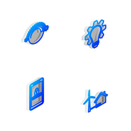 Set Isometric line Light bulb and gear, Thermostat, Mobile password protection and House with wind turbine icon. Vector