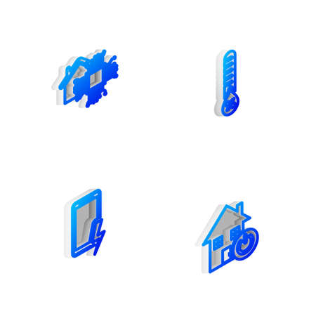 Set Isometric line Humidity, Smart home, Mobile charging battery and icon. Vector
