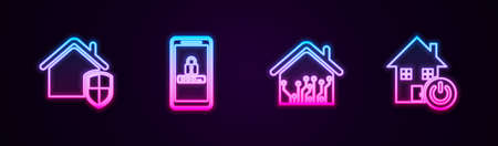 Set line House under protection, Mobile and password, Smart home and . Glowing neon icon. Vector Vettoriali