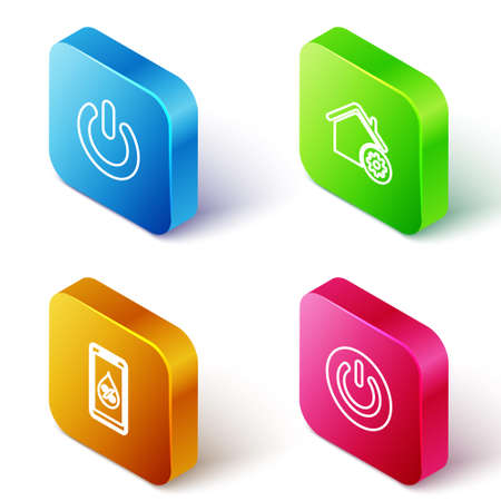Set Isometric line Power button, Smart home settings, Humidity for smart and icon. Vector