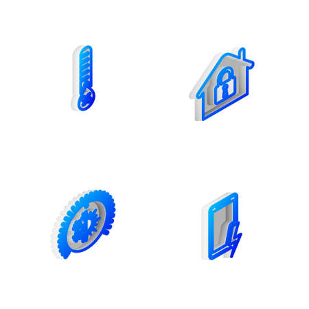 Set Isometric line House under protection, Humidity, Thermostat and Mobile charging battery icon. Vector