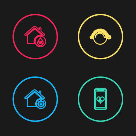 Set line Smart home settings, Mobile with heart rate, Thermostat and House humidity icon. Vector