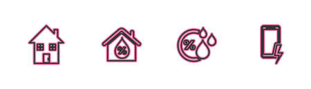 Set line House, Humidity, humidity and Mobile charging battery icon. Vector