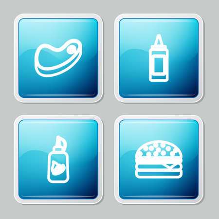 Set line Steak meat, Mustard bottle, Ketchup and Burger icon. Vector