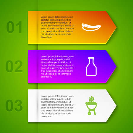 Set line Hot chili pepper pod, Ketchup bottle, Barbecue grilled shish kebab and Sausage on the fork. Business infographic template. Vector 矢量图像