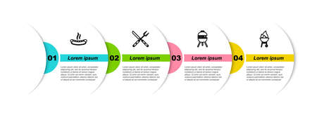 Set line Hotdog sandwich, Crossed fork knife, Barbecue grill and . Business infographic template. Vector 矢量图像