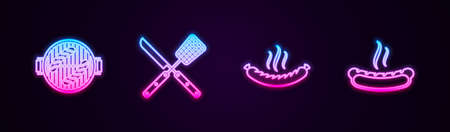 Set line Barbecue grill with sausage, Crossed knife and spatula, Sausage and Hotdog sandwich. Glowing neon icon. Vector 矢量图像
