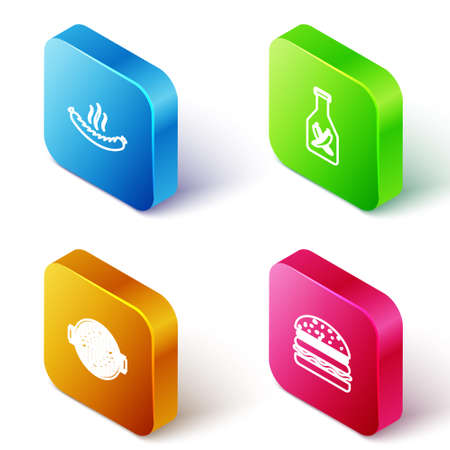 Set Isometric line Sausage, Ketchup bottle, Barbecue grill with sausage and Burger icon. Vector