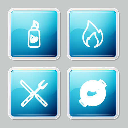 Set line Ketchup bottle, Fire flame, Crossed fork and knife and Barbecue grill with steak icon. Vector