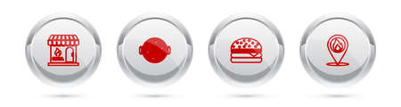Set line Barbecue shopping building, grill with sausage, Burger and Location fire flame. Silver circle button. Vector