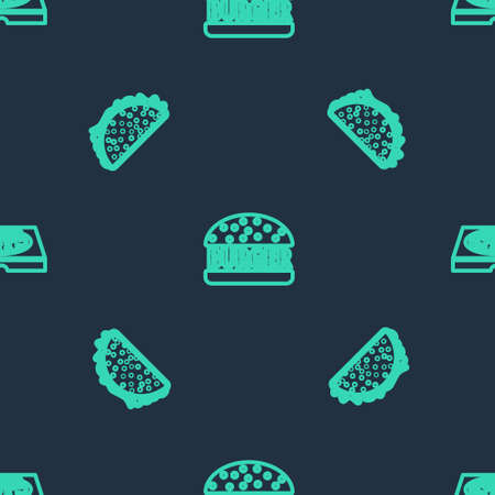 Set line Burger, Taco with tortilla and Pizza in cardboard box on seamless pattern. Vector 矢量图像