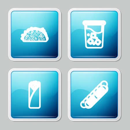 Set line Taco with tortilla, Glass water, Burrito and Hotdog sandwich icon. Vector 矢量图像