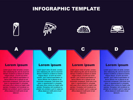 Set line Burrito, Slice of pizza, Taco with tortilla and Pizza in cardboard box. Business infographic template. Vector
