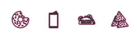 Set line Donut, Taco with tortilla, Aluminum can and Nachos icon. Vector