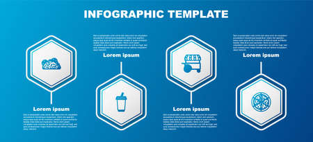 Set line Taco with tortilla, Glass water, Fast street food cart and Pizza. Business infographic template. Vector 矢量图像