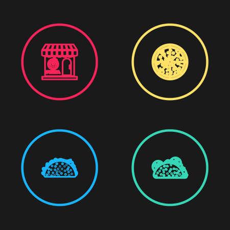 Set line Taco with tortilla, , Pizza and Pizzeria building facade icon. Vector