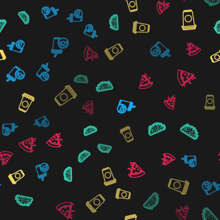 Set line Soda drink with donut, Taco tortilla, Coffee cup and Slice pizza on seamless pattern. Vector 矢量图像