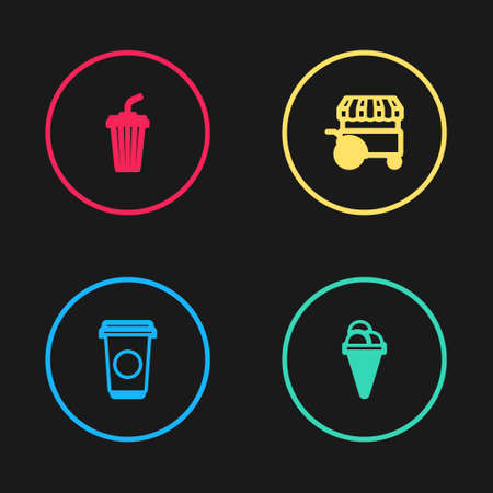 Set line Coffee cup, Ice cream in waffle cone, Fast street food cart and Glass with water icon. Vector