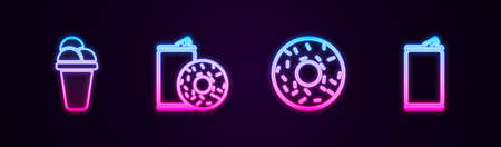 Set line Ice cream, Aluminum can soda and donut, Donut and . Glowing neon icon. Vector