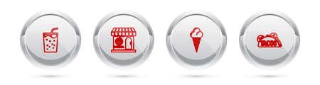 Set line Glass with water, Pizzeria building facade, Ice cream waffle cone and Taco tortilla. Silver circle button. Vector