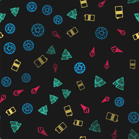 Set line Donut, Nachos, Beer can and Ice cream in waffle cone on seamless pattern. Vector