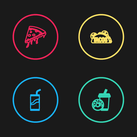 Set line Soda can with drinking straw, donut, Taco tortilla and Slice of pizza icon. Vector 矢量图像