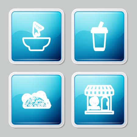 Set line Nachos in plate, Glass with water, Taco tortilla and Pizzeria building facade icon. Vector