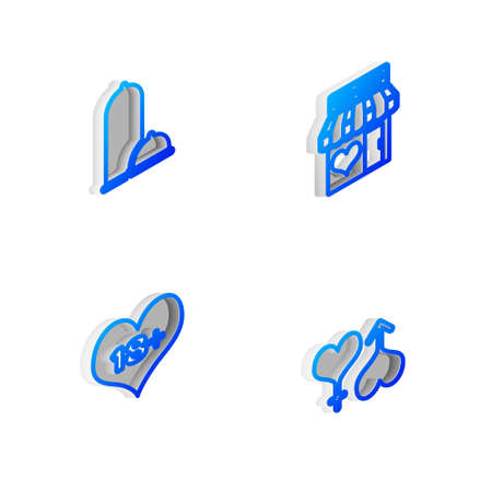Set Isometric line Sex shop building, Condoms safe sex, 18 plus content heart and Male and female icon. Vector