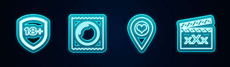 Set line Shield with 18 plus, Condom in package, Location heart and Movie clapper Sex. Glowing neon icon. Vector 矢量图像